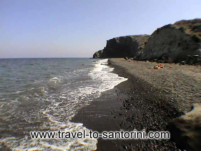 Panoramic view of Kouloumbo beach, one of the last untouched spots from tourism in Santorini