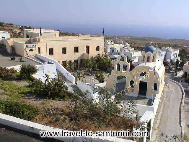 View of the yard, the church and the main building of Fira Foklore Museum of Santorini