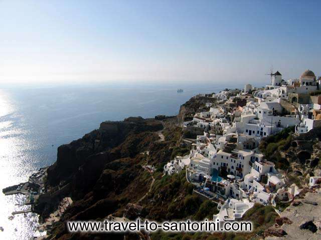 View of the last part of Oia at the northern edge of Santorini. It is the area after Oia castle. Here is located the stairway to Ammoudi. Also visible the f