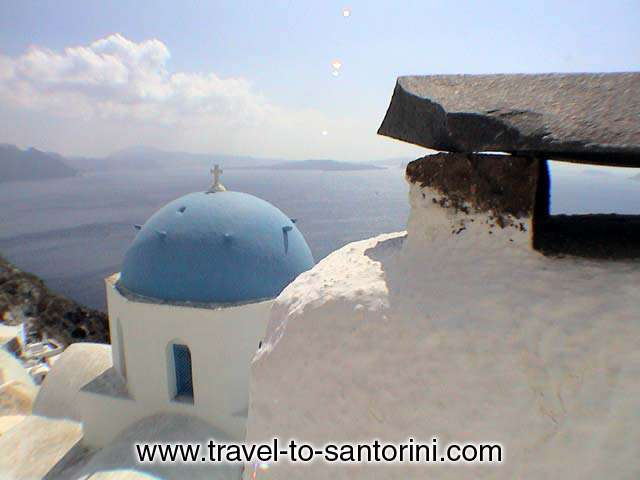 View of Anastasis church in Oia, a masterpiece of architecture.